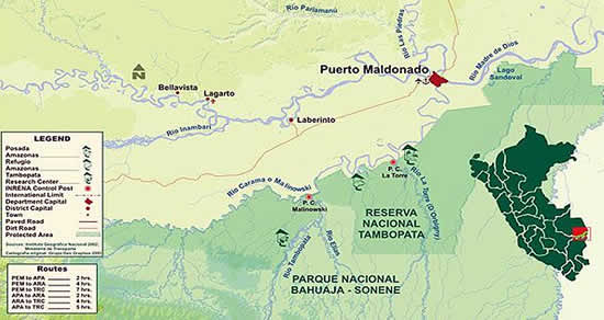Tambopata National Reserve map