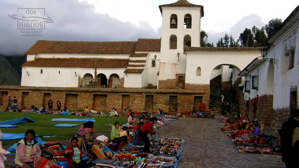 Plaza of the Chincheros Church with Vendors