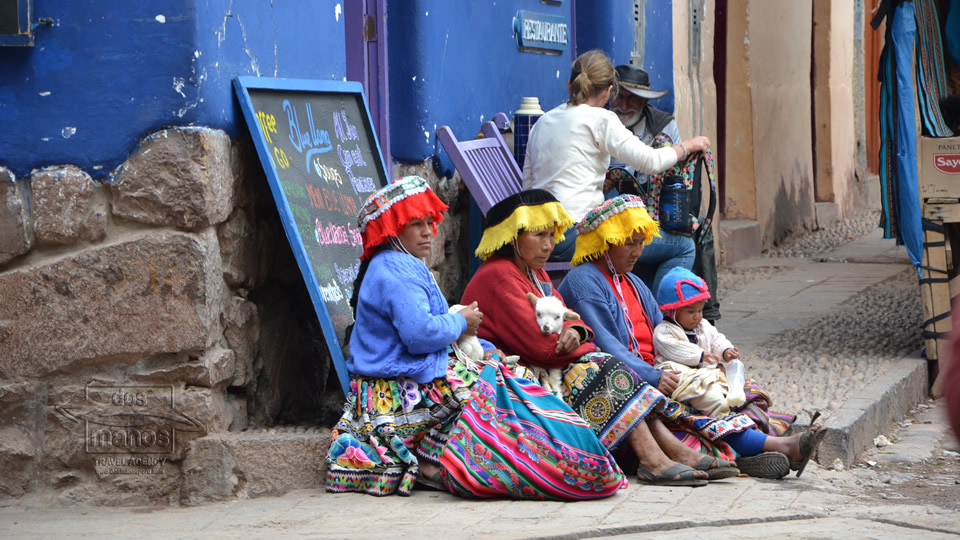 Ladies dressed in typical Peruvian clothing