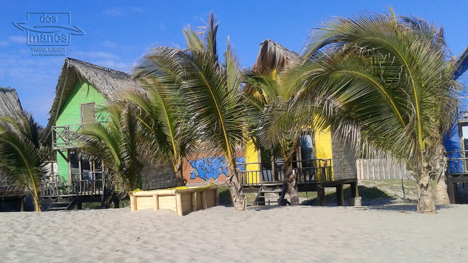Bungalows at the beach in Mancora, Peru