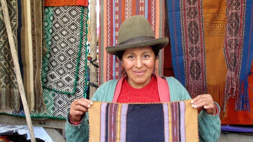 Vendor of textiles at local market
